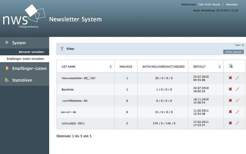 Individuelles Newslettersystem - Empfänger-Listen