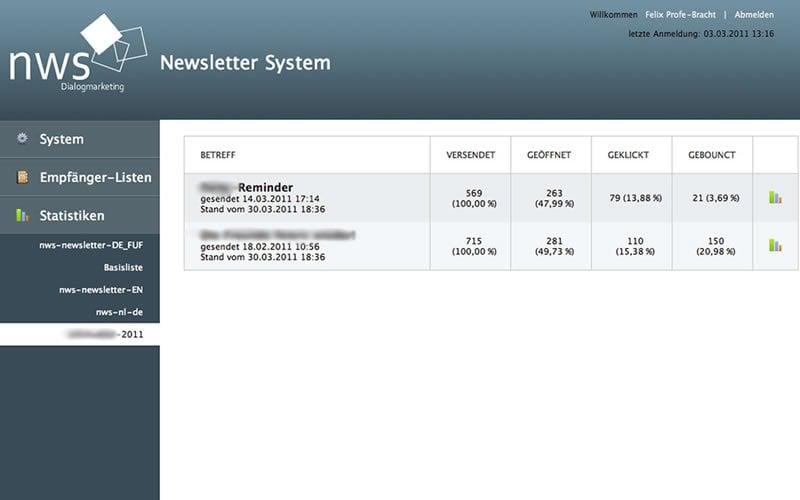 Individuelles Newslettersystem - Statistiken