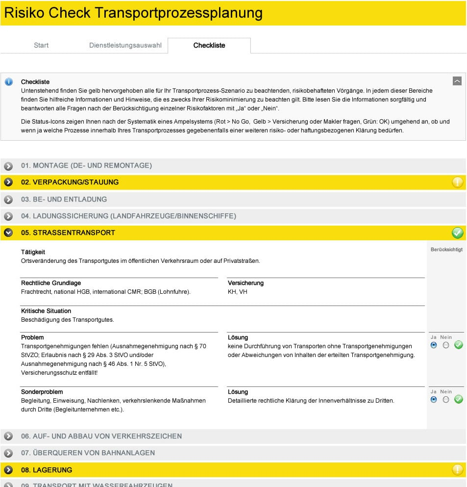 Programmierung BSK Risiko-Check-Tool